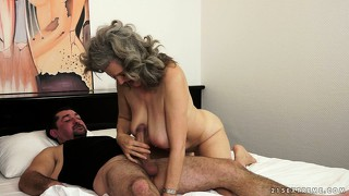 She gives him some head, gets fucked and sucks on his dick again