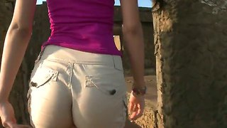 Petite and young luchy is making rough stud weak in the knees with her wild blowjob outdoors