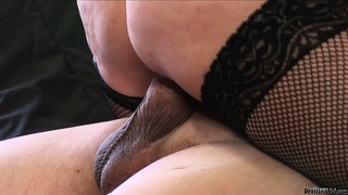 Mature slut with fishnet stockings fucked hard in her experienced and hairy muff