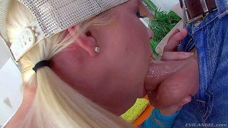 Pigtailed blonde anikka albright in cap gets her mouth stretched and her throat fucked unthinkably deep by man with thick rock solid cock. this is her first extreme deepthroat job!