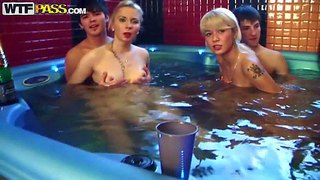Daisy, gail, mimi and nicole t are 18 year old college girls with small tits and tight bodies. they are all naked in the sauna with lucky boys. they drink alcohol in their bare skin before it turns into orgy!