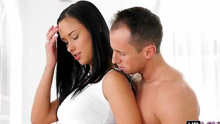 Gorgeous long haired brunette model and her neighbor in the oral interlude scene