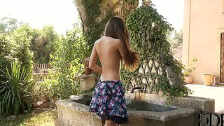 Topless subil arch softcore in the garden