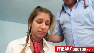 School girl rachel evans sucking on old gyno doctor dick