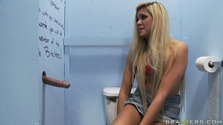 Long-haired beauty finds out what is the meaning of glory hole