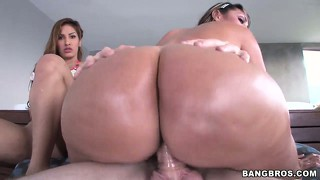 Two big assed colombian babes get fucked in a hot ffm threesome