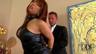 Well-endowed asian lady tigerr benson in sexy black dress gets handcuffed by elegant gent before she gets down on her knees and takes his dick in her mouth. watch exotic lady with hands behind her back get face fucked on stairs.