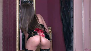 Gorgeous brunette zara in black nylon stockings and corset shows off her tits and firm ass as she masturbates. she finger fucks her cunt non-stop. watch her masturbates her sweet pussy.