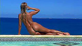 Attractive young smoking hot tanned blonde sandy with small boobs and perfectly shaped firm ass teases and poses while dirty voyeur films her by the pool on hot summer day