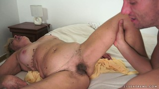 Hairy twat granny gets it licked and then poked with his younger bone