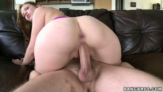 Gorgeous white birds with massive asses get banged on a couch