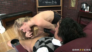 Busty blonde already passed her oral exam now she gets fucked for extra credit