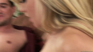 Lovely blonde with a hairy snatch rides his cock and gets banged