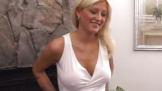 Big breasted blonde jerks off cock
