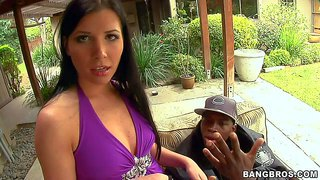 Spanish porn diva rebeca linares with sexy round ass strips down to her purple panties in front of black guy before she gives his big tool a try. she removes her jeans and exposes her butt eagerly!