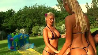Molly cavalli and her lesbian friends get wet in the grass