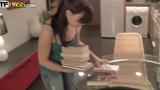 Petite teen brandy is so busy in the kitchen but she always has some time for a hot fucking session