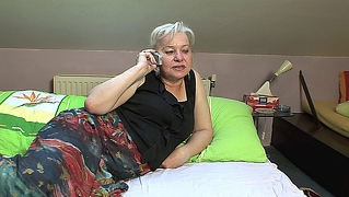 Horny granny calls up her lover so she can suck his young cock
