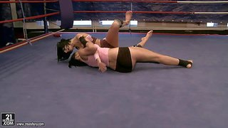 Young brunette babes larissa dee and liz with big hooters and good looking bodies in tight booty shorts and sports bras get half naked during arousing chick fight in the ring
