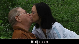 Grandpa serving young sex at picnic