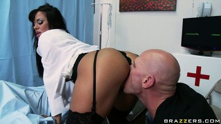 Horny brunette nurse gets fingered and licked and then gives head