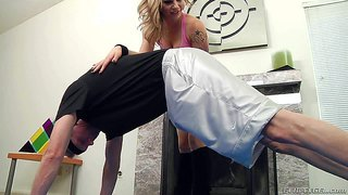 Horny and passionate yoga teacher bailey blue enjoys in getting her hands on her new student mark wood and plays with his hard rod on the floor for the cam