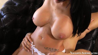 Busty brunette ava addams blows his boner and gets banged on the couch