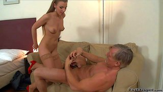 Morgan moon is a sweet sex hungry babe in sheer stockings. she shows off her lovely natural tits and gets her trimmed pussy used by horny older man christoph clark. she gives head before he takes care of her twat.
