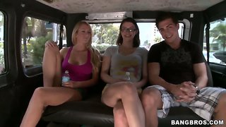 Brett rossi and nicole ryder have ride in bang bus