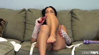 Mahina zaltana jabs that dildo in and out of both her love holes