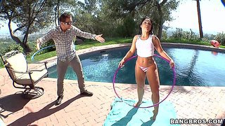 Dark haired juicy latina monica santhiago in skin tight panties shows off her wet big booty in the open air. she shows her nice butt to lucky guy by the pool. he loves the way she shakes her booty.