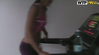 Sexy babe jocelyn enjoys her sexual cravings satisfied by a huge pole after a work out session