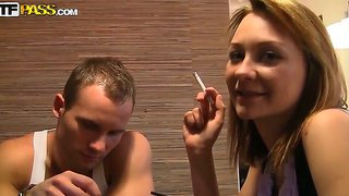 Hot blonde with boyfriend smokes weed in restaurant and later gets her pussy fucked hard