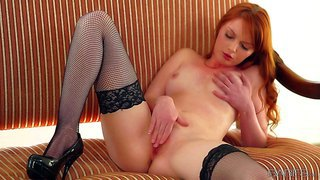 Adorable young redhead doll marie mccray with natural boobies and slim body in stockings only spreads legs and polishes her sweet hairless cunny to warm orgasmic feeling in solo fantasy