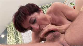 Chubby redheaded granny gets nailed in her plump, hairy hole