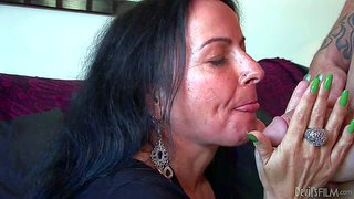 Miss nina swiss is a hot mature woman with long black hair. she gives deep blowjob to her fuck buddy before she spreads her legs and gets her wet hairy pussy tongue fucked by jack vegas.