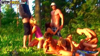 Alika, tiffany, hannah and marta are sex obsessed student girls that have a nice time sucking cock and getting their slits fucked by hot boys in the woods. their forest party turn into real orgy!