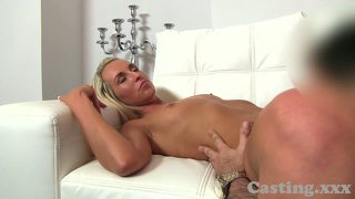 Casting blonde babe sucks and fucks in interview