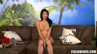 Gorgeous brunette mulatto shows off her naked charms at the casting