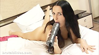 Teen rides a big rippled silver dildo taking it deep in her ass in hd