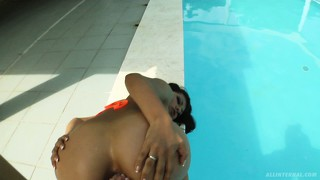 Exotic and kinky babe yoha gets toe-fucked and gives head by the pool