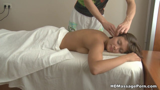 Massage makes girl's pussy wet