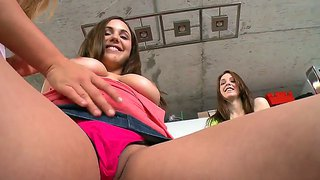 Mercedes lynn invites kiera winters and sabrina taylor to her bedroom for a kinky threesome