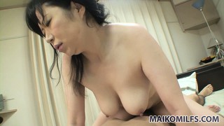 Chubby japanese housewife gets freaky taking a young lad's cock