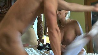 Blonde cougar diana doll lets hunk to fill her holes with his long and hard cock