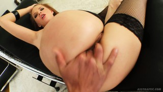 Tarra cums the first time from his fingers, then again with a cock in her ass