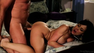 Once he's done fucking his new step mom, he comes on her belly