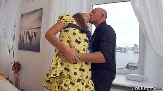 Olga b is a tender brown haired teen girl. she spreads her legs by the window for hot guy. he gives her hairless pussy a lick and then he inserts toy deep in her tight flexy asshole.