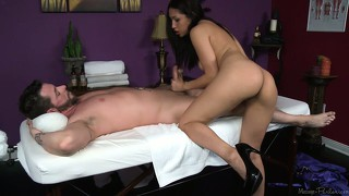 Asian slut grabs this guy's dick and sucks it hard after a massage