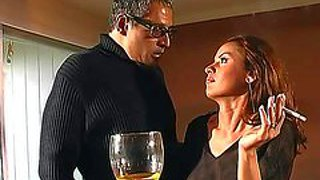 Arousing experienced and playful cougar with pretty face and sexy fit body in high heels and tight black skirt seduces her tall neighbor with glasses and gets her snatch licked